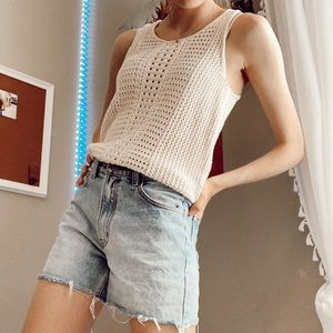 crotched cream top